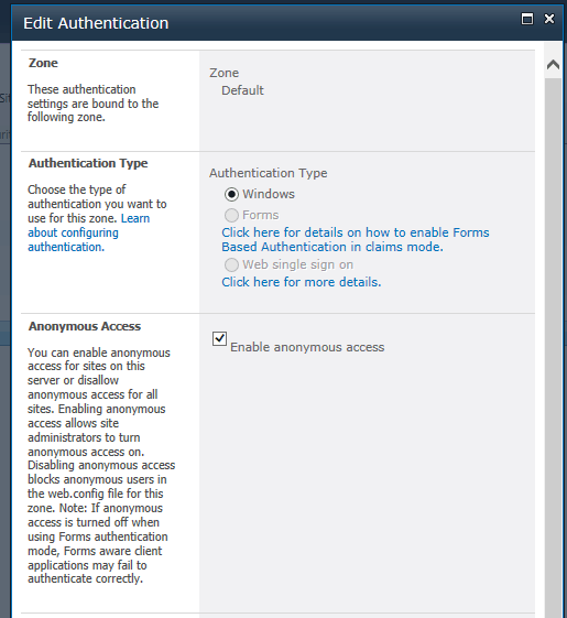 Enabling SharePoint Anonymous Access at the web application -level