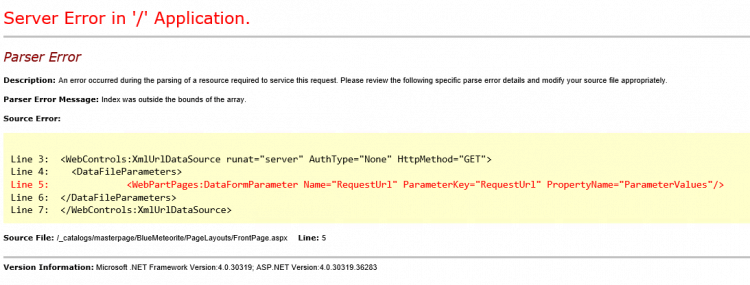 Malformed web.config causing a Parser Error