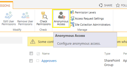 Anonymous access in SharePoint 2013