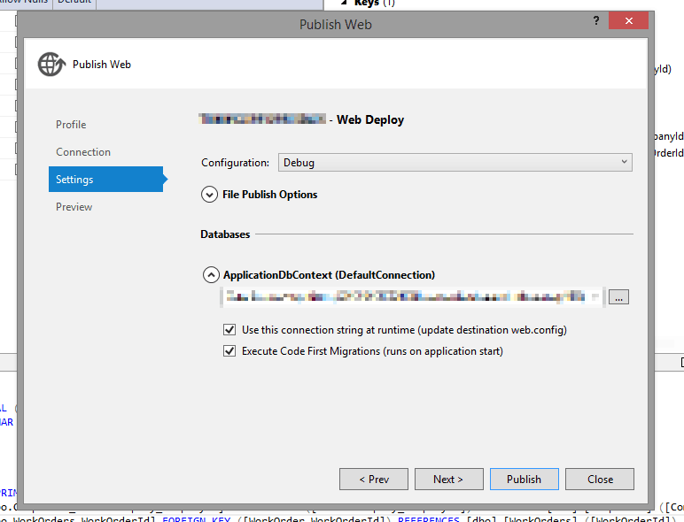 Applying Entity Framework's Code-First Migrations against a Database in Azure by running Update-Database