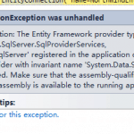 No Entity Framework provider found for the ADO.NET provider with invariant name 'System.Data.SqlClient'