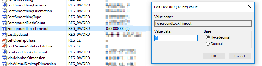 Regedit after changes stopping Outlook from stealing focus