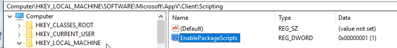 Regedit to enable appv scripts