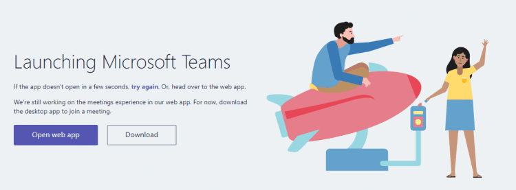 Launching Microsoft Teams