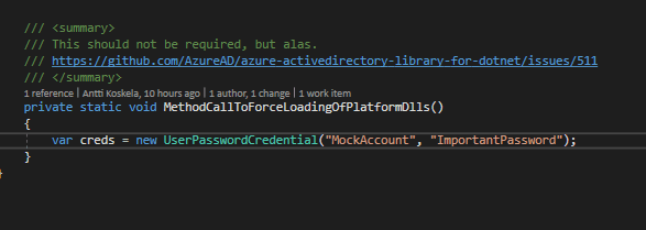 Mock Function call to force loading an assembly - how elegant!