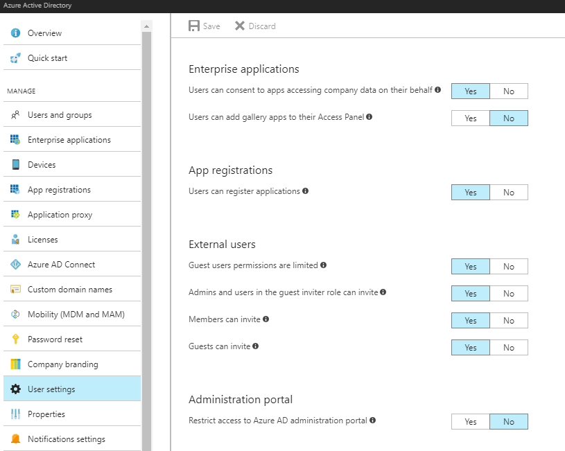 Azure AD Application settings - these selections should enable adding new apps to your organization!