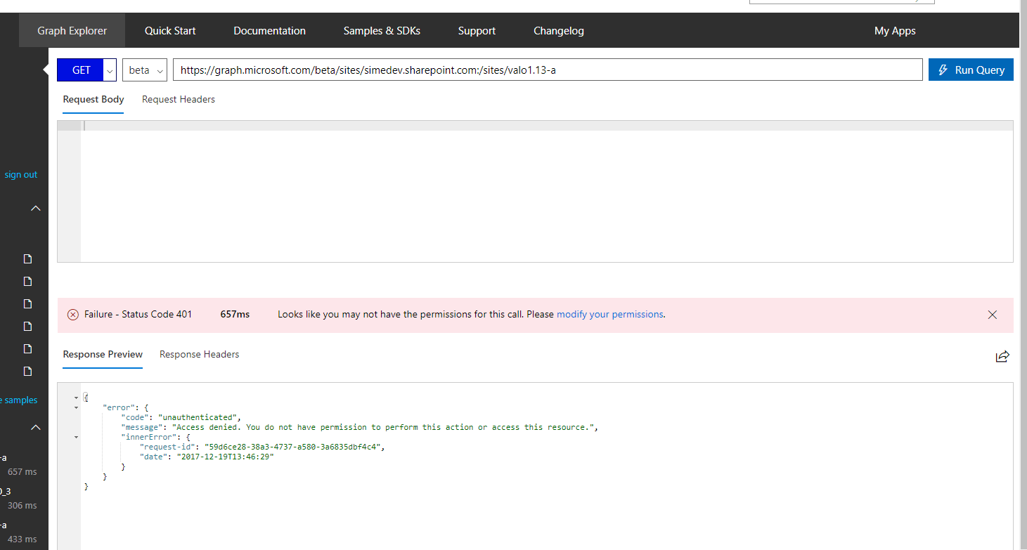 Unauthorized call to /sites in Graph Explorer