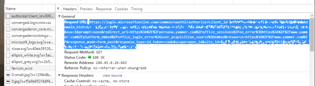 AADSTS90013: Network-tab shows that call to yammer fails