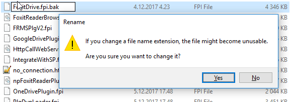 Renaming Foxit Drive plugin