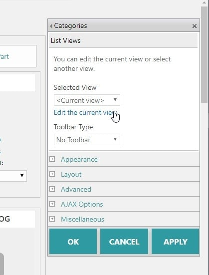 Edit the view settings for the webpart