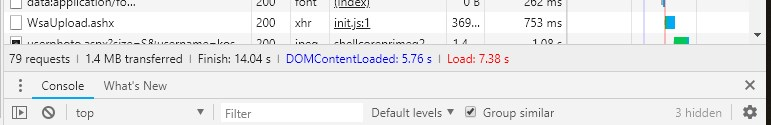 A request to WsaUpload.ashx causing a delay of over 700ms - that's about 10% of the whole page load time!