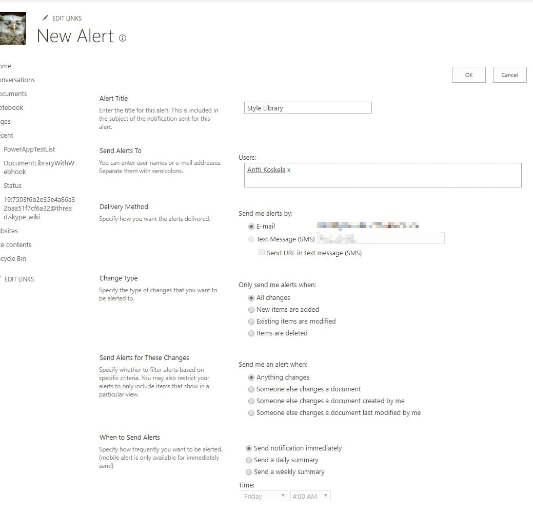 Creating new Alerts in pretty much any SharePoint library