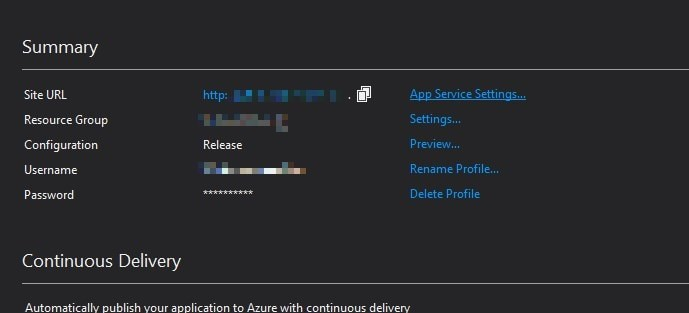 Visual Studio 2017 ASP.NET MVC project publish app settings