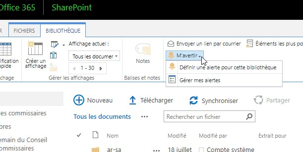 How to access Alerts in a SharePoint library