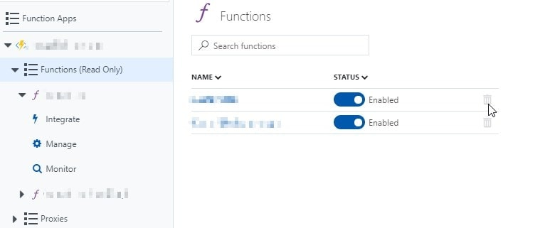 List of functions in an Azure Functions App... It's in read-only, so can't remove them.