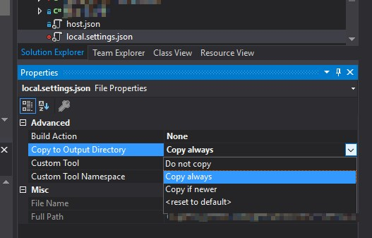 Setting your local.settings.json and host.json to be always copied to output directory in your local builds to enable Azure Functions CLI to acces newest values of your configuration