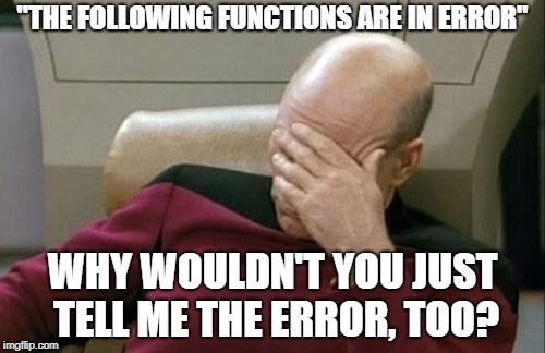 The following functions are in error... And that's about it.