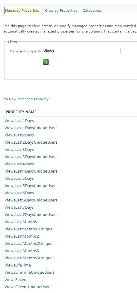 View Count -related Managed Properties in SharePoint Search schema
