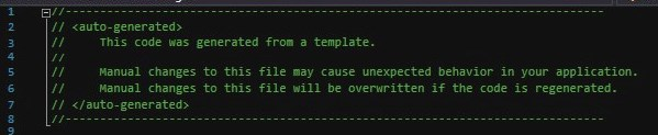 A warning for auto-generated code in Visual Studio ASP.NET MVC Model class