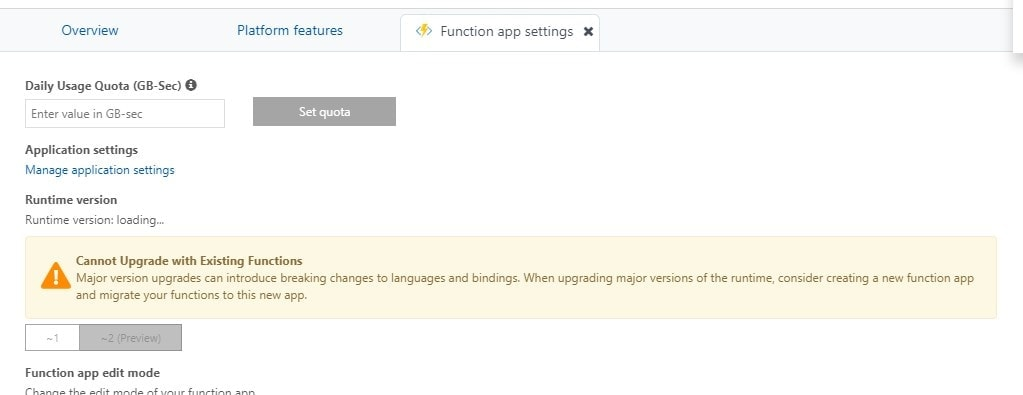 Changing between Azure Functions runtime versions... Not today. Not here.