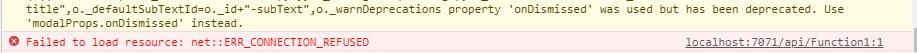 """""""ERR_CONNECTION_REFUSED"""" from an Azure Function"""