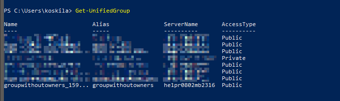 """""""Get-UnifiedGroup"""" cmdlet produces a list of your Office 365 Groups with some default properties shown"""