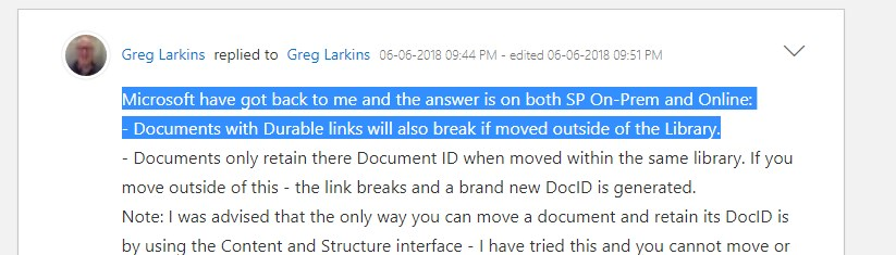 Microsoft got back to Greg Larkins and the answer is on both SP On-Prem and Online: Documents with Durable links will also break if moved outside of the Library.