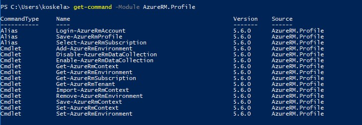 Get-Command -Module AzureRM.Profile. You're seeing it correctly - it doesn't have a Logout-AzureRmAccount, Disconnect-AzureRmAccount, Remove-AzureRmAccount or even Remove-AzureRmContext commandlets! That's a lot of fun :)