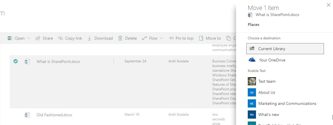 """""""Move to"""" -dialog in Modern view in SharePoint Online"""