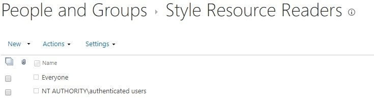 "The default permissions of ""Style Resource Readers"" -built-in SharePoint Group"