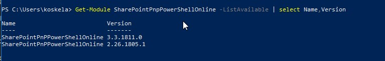 "Output of the PowerShell commandlet ""Get-Module SharePointPnpPowerShellOnline -ListAvailable 