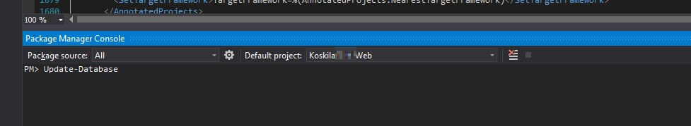 Running Update-Database in the terminal for an ASP.NET MVC Core project with Entity Framework Core.