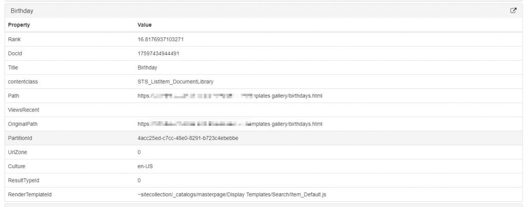 Expanded results for a query in SharePoint Search Query tool in Chrome SP Editor