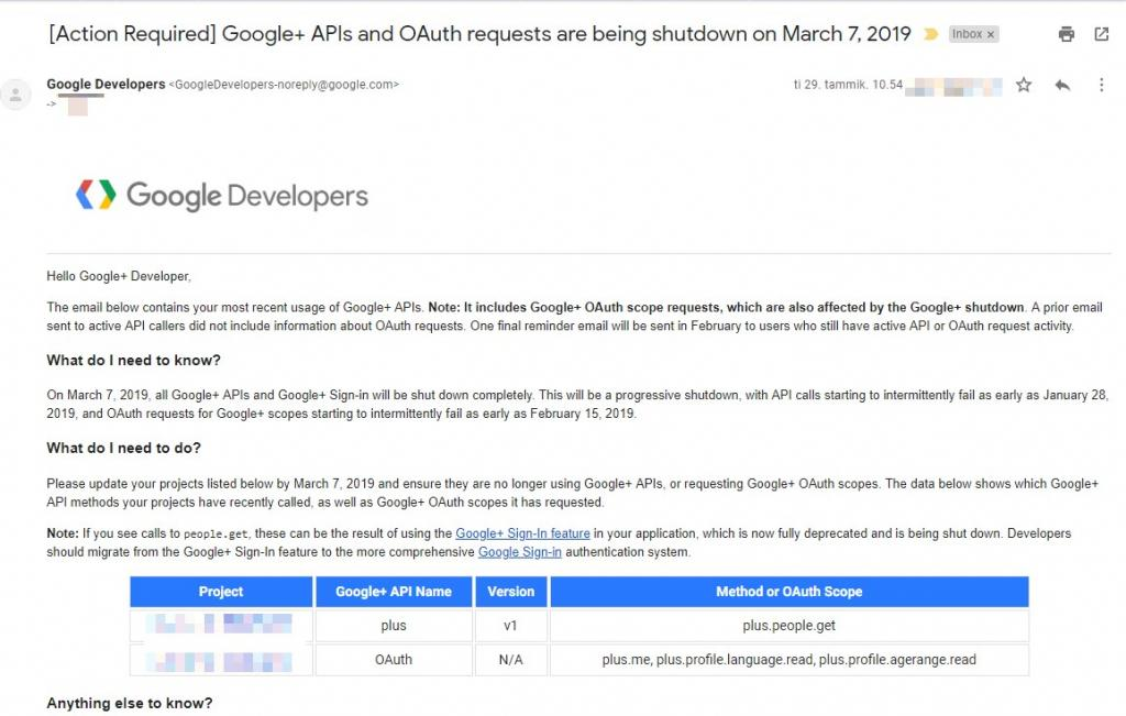 Email from Google: Google+ APIs and OAuth requests after March 7, 2019 will fail. Helpfully, there's a list of requested scopes and APIs I'm using.