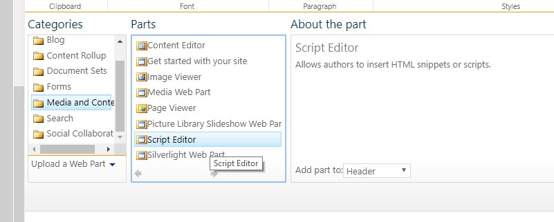 Yay, we've got the Script Editor available! Now we can do all the nasty stuff ourselves without the need of a Site Collection admin.
