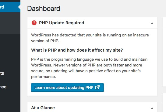 WordPress 5.1 now bugs you to update your PHP version if you're running and old and insecure version.