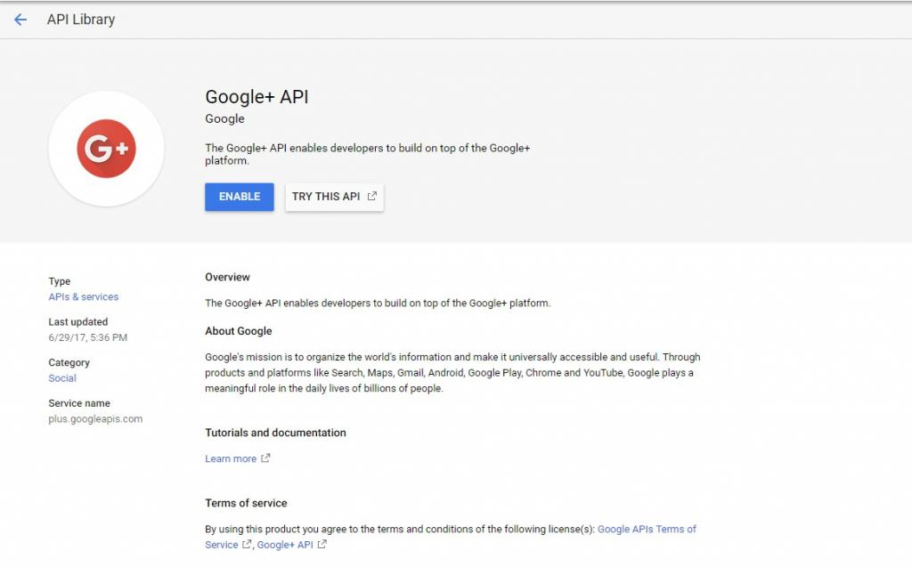 Google+ API on Google's Developer console. This one is going away on 7.3.2019.