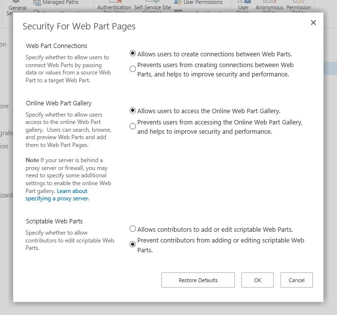 """SharePoint Server has this """"Security For Web Part Pages"""" dialog for Web Applications - it's used to set the similar """"Custom Scripting"""" options, as on SharePoint Online."""