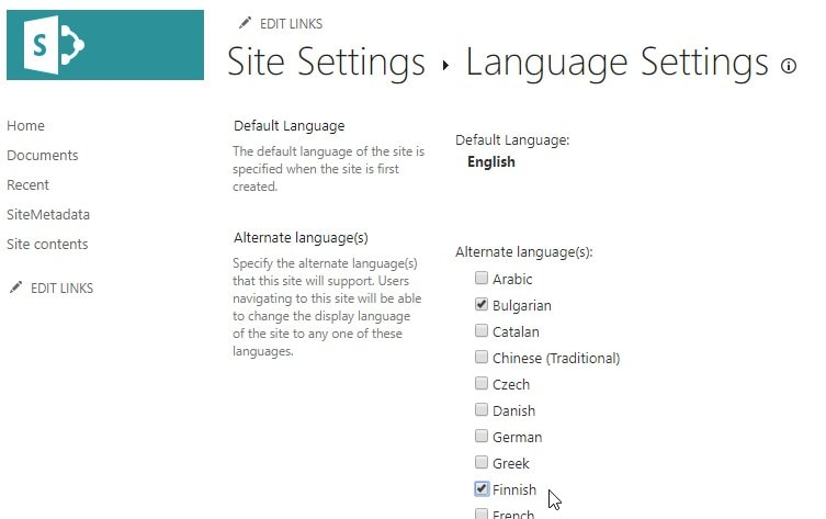 """Even on Modern sites, the language selection is still the good old (I'd love to say """"Classic"""" but that would cause confusion) view we're all used to. And the list of supported """"Alternate Languages"""" is pretty impressive!"""