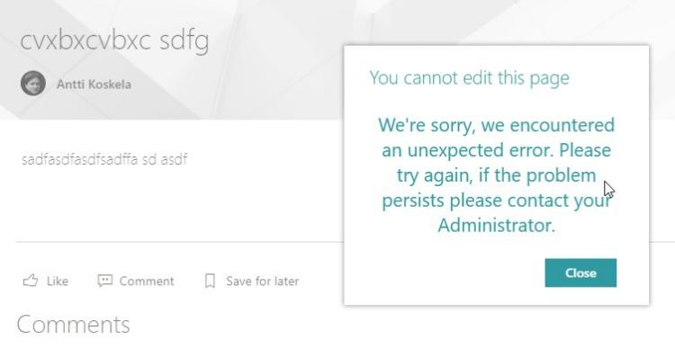 You cannot edit this page We're sorry, we encountered an unexpected error. Please try again, if the problem persists please contact your Administrator.