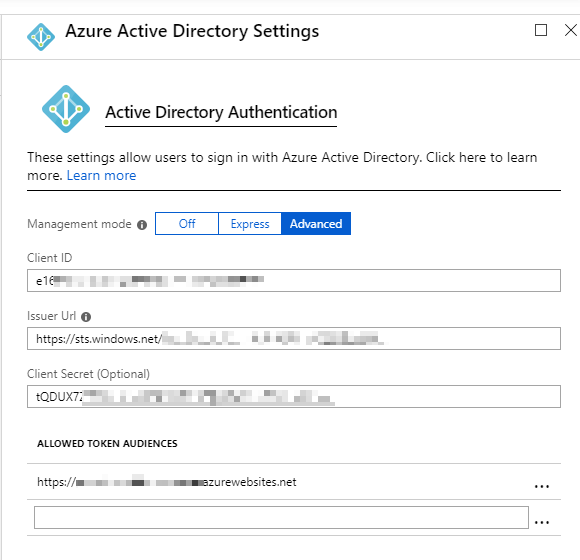 Azure App Service or Function App Authentication settings for Azure Active Directory