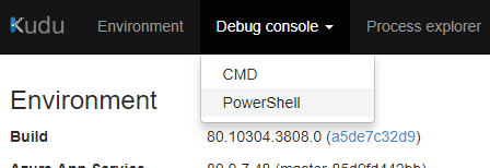 How to access the PowerShell debug console in Kudu console