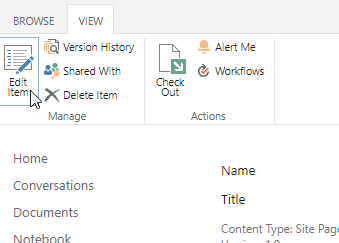 "While in ""Properties"" view of a list item, you can access the Edit form by clicking ""Edit Item""."