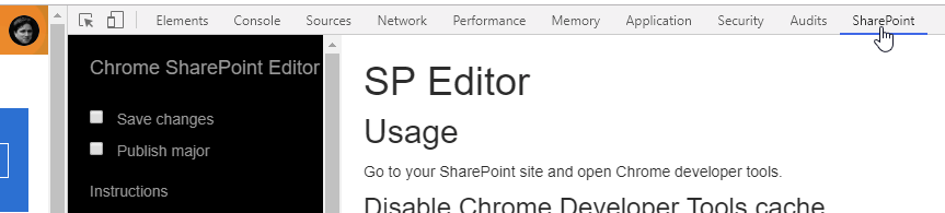 How to access the Chrome SP Editor in your browser.