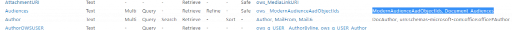 """Multiple aliases configured for an out-of-the-box Managed Property, """"Audiences""""."""
