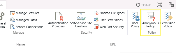 Anonymous Access in SharePoint Server's Central Administration's Web Application management view.