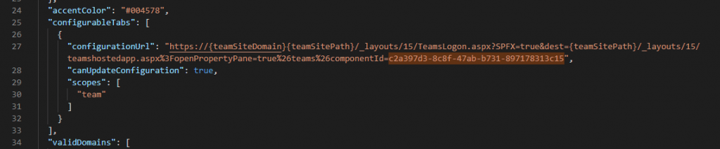See the manifest file for your Microsoft Teams extension in url [yoursolution]/teams/manifest.json. In this image, the guid for the added extension is highlighted.