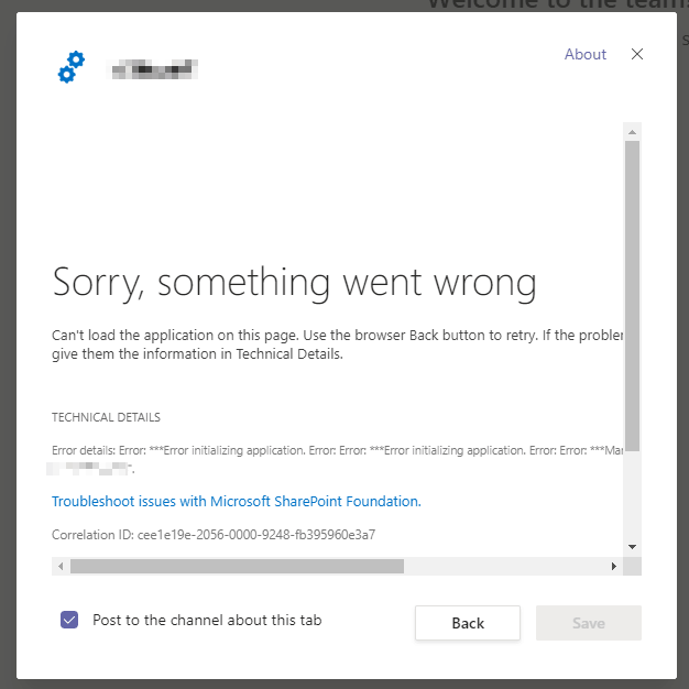 "Microsoft Teams won't have any of your SPFx webpart - instead, it throws a ""Sorry, something went wrong"", and ""Error details: Error: ***Error initializing application. Error: Error: ***Error initializing application. Error: Error: ***Manifest not found for component id ""[guid]""."""