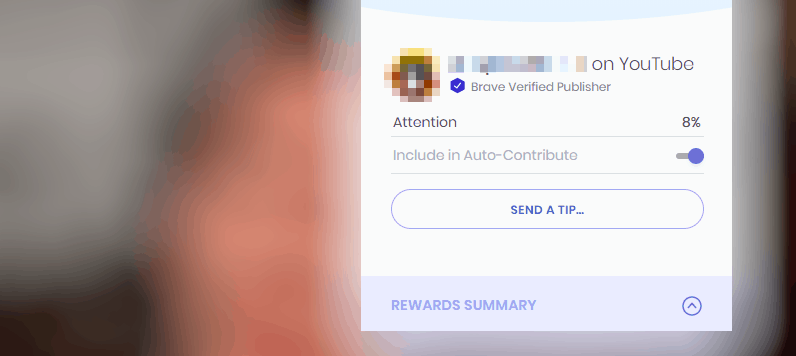 An example of the Brave Rewards tipping menu - you actually never need to access this unless you want to, as the process is pretty much automatic!