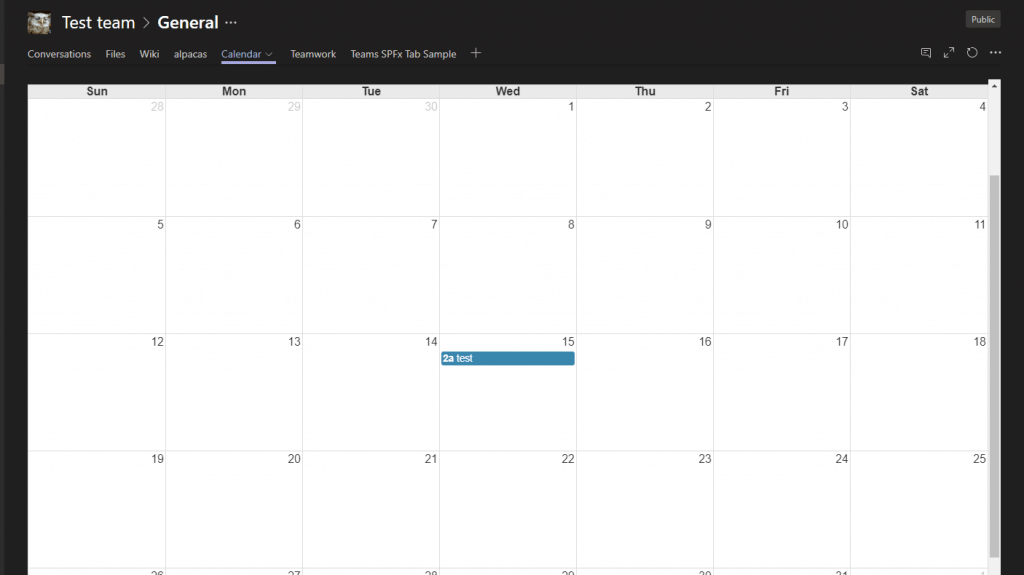 A custom SPFx webpart displaying a calendar for a Modern Team Site in SharePoint - but actually as a tab directly in Microsoft Teams!